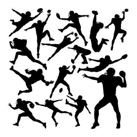 Siluetas de jugador de fútbol americano. Buen uso de símbolo, logotipo, icono web, mascota, letrero o cualquier diseño que desee.
