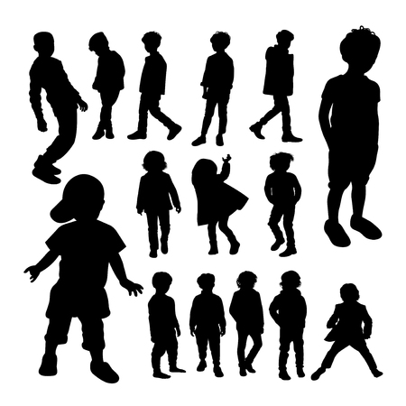 Little boy silhouettes. Good use for symbol, logo, web icon, mascot, sign, or any design you want. Иллюстрация