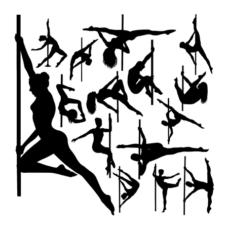 Pole dancer gesture silhouettes. Good use for symbol, logo, web icon, mascot, sign, or any design you want.