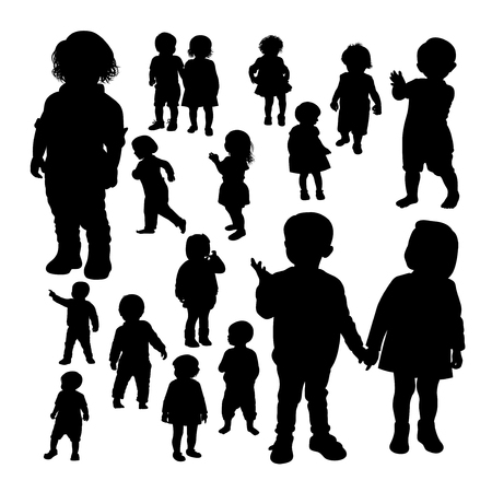 Toddler gesture silhouettes. Good use for symbol, logo, web icon, mascot, sign, or any design you want. Ilustracja