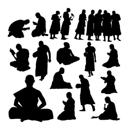 Buddhistische Mönchsgesten-Silhouetten. Gute Verwendung für Symbole, Logos, Websymbole, Maskottchen, Zeichen oder jedes gewünschte Design. Logo