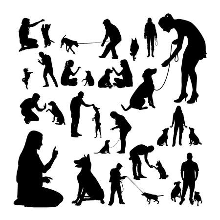 Siluetas de entrenador de perros. Buen uso de símbolo, logotipo, icono web, mascota, letrero o cualquier diseño que desee.