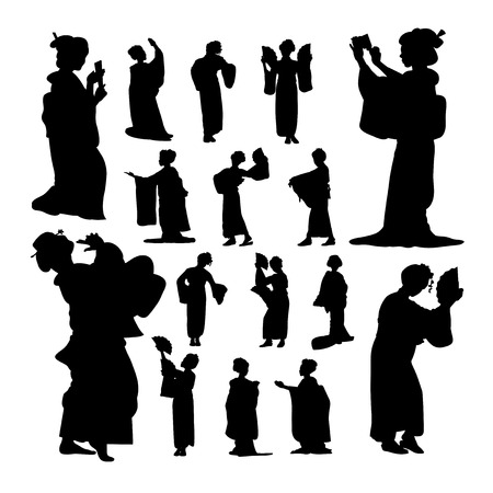 Geisha silhouettes. Good use for symbol, logo, web icon, mascot, sign, or any design you want.