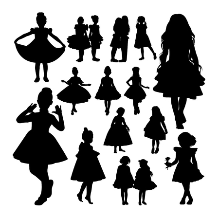 Little girl silhouettes. Good use for symbol, logo, web icon, mascot, sign, or any design you want.