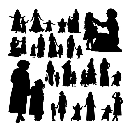 Muslim mother and child silhouettes. Good use for symbol, logo, web icon, mascot, sign, or any design you want.