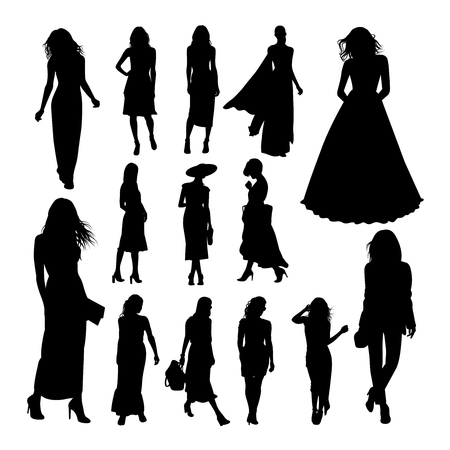 Pretty woman silhouettes. Good use for symbol, logo, web icon, mascot, sign, or any design you want.