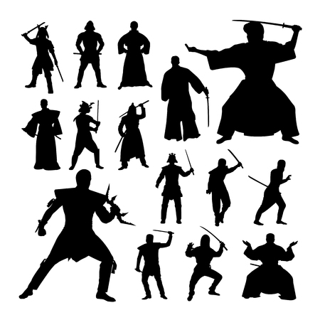 Samurai gesture silhouettes. Good use for symbol, logo, web icon, mascot, sign, or any design you want.