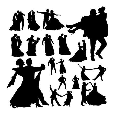 Siluetas de baile de boda. Buen uso de símbolo, logotipo, icono web, mascota, letrero o cualquier diseño que desee. Logos