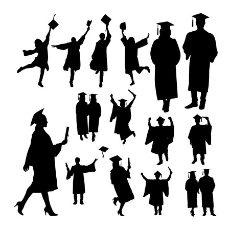 Graduation silhouettes. Good use for symbol, logo, web icon, mascot, sign, or any design you want. Иллюстрация