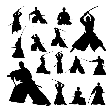 Samurai martial art silhouettes. Good use for symbol, logo, web icon, mascot, sign, or any design you want. Иллюстрация