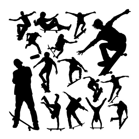 Skater playing skateboard silhouettes. Good use for symbol, logo, web icon, mascot, sign, or any design you want.