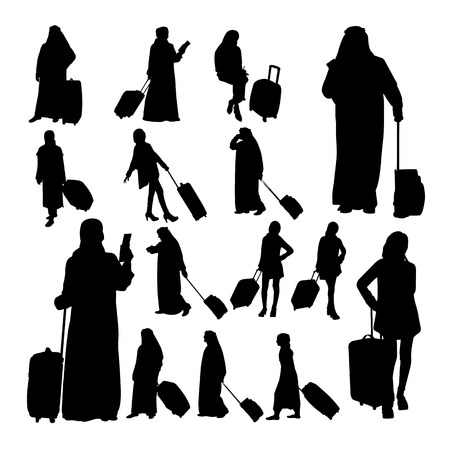 Muslim traveler silhouettes. Good use for symbol, logo, web icon, mascot, sign, or any design you want.