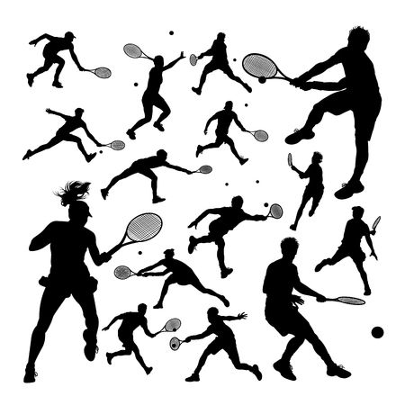 Tennis player silhouettes. Good use for symbol, logo, web icon, mascot, sign, or any design you want.