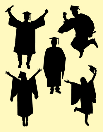 Graduation silhouette. Good use for symbol, logo, web icon, sign, or any design you want.