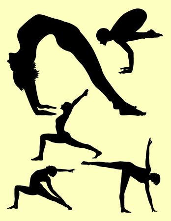 Yoga silhouette. Good use for symbol, logo, web icon, sign, or any design you want.