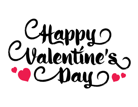 Vector inscription happy valentines day with heart.