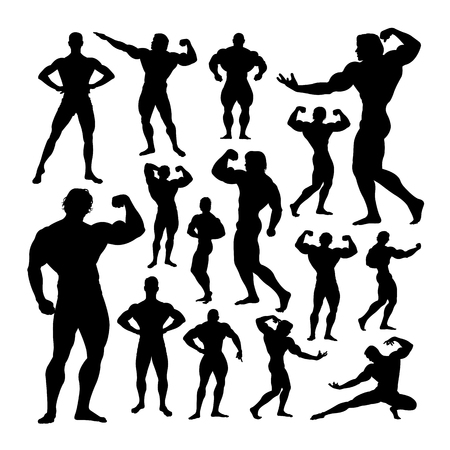 Bodybuilder silhouettes. Good use for symbol, logo, web icon, mascot, sign, or any design you want. Иллюстрация
