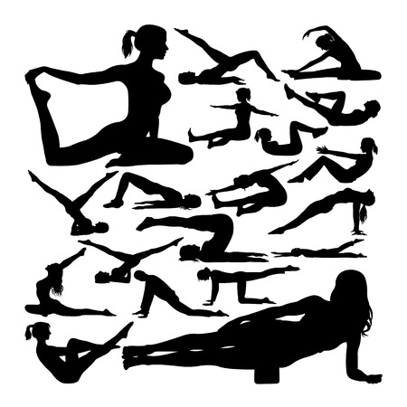 Pilates pose silhouettes. Good use for symbol, logo, web icon, mascot, sign, or any design you want.
