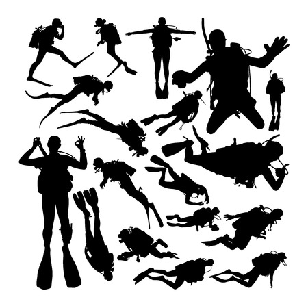 Scuba diver silhouettes. Good use for symbol, logo, web icon, mascot, sign, or any design you want. Illusztráció