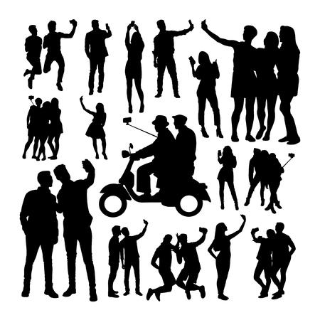 Selfie-Menschen-Silhouetten. Gute Verwendung für Symbol, Logo, Websymbol, Maskottchen, Zeichen oder jedes gewünschte Design. Logo