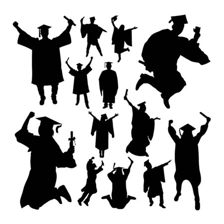 Academic graduation silhouettes. Good use for symbol,logo,web icon, mascot, sign, or any design you want. Иллюстрация