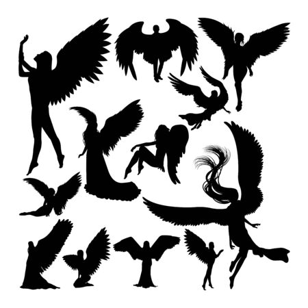 Angel silhouettes. Good use for symbol,logo,web icon, mascot, sign, or any design you want. Çizim