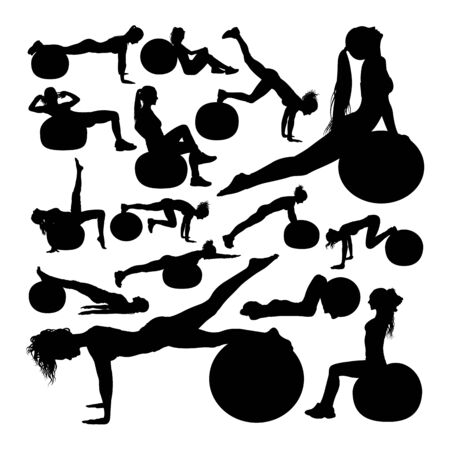 Beautiful woman doing fitness silhouettes. Good use for symbol,logo,web icon, mascot, sign, or any design you want.