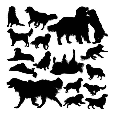 Golden retriever dog animal silhouettes. Good use for symbol,logo,web icon, mascot, sign, or any design you want.