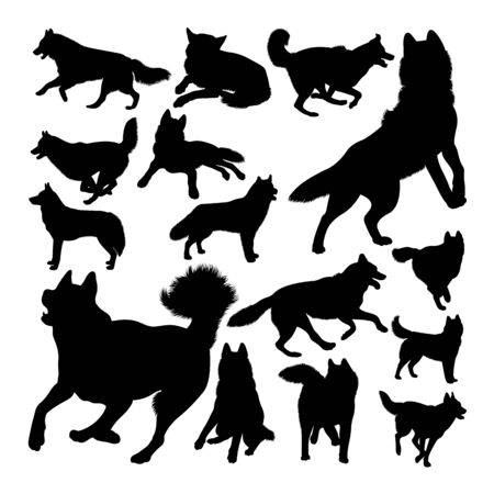 Husky dog animal silhouettes. Good use for symbol,logo,web icon, mascot, sign, or any design you want. Çizim