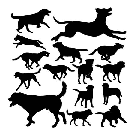 Labrador dog animal silhouettes. Good use for symbol,logo,web icon, mascot, sign, or any design you want. Çizim