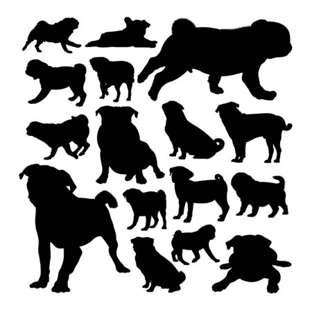 Pug dog animal silhouettes. Good use for symbol,logo,web icon, mascot, sign, or any design you want.