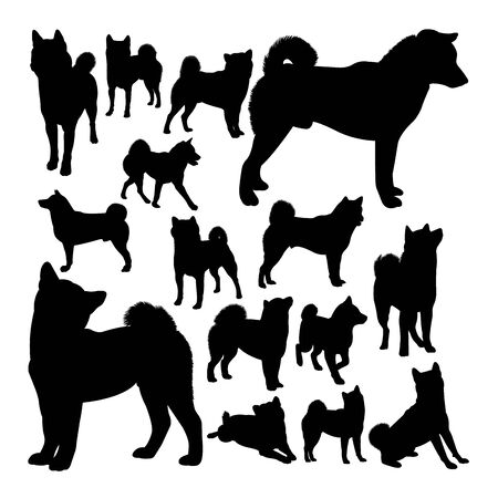Shiba inu dog animal silhouettes. Good use for symbol,logo,web icon, mascot, sign, or any design you want.