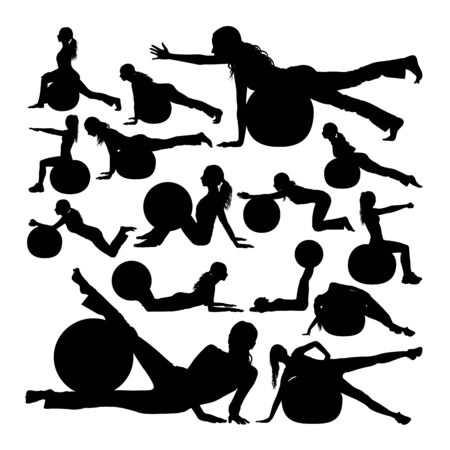 Woman exercise with pilates ball silhouettes. Good use for symbol,logo,web icon, mascot, sign, or any design you want. Çizim