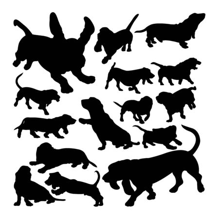Basset hound dog animal silhouettes. Good use for symbol, logo, web icon, mascot, sign, or any design you want. Illustration