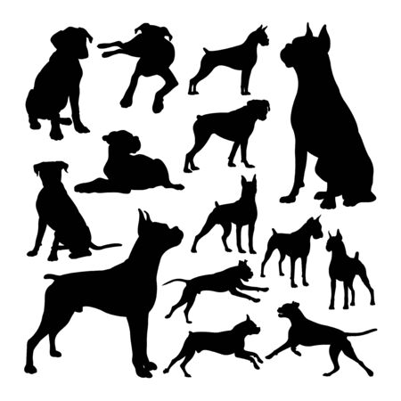 Boxer dog animal silhouettes. Good use for symbol, logo, web icon, mascot, sign, or any design you want.