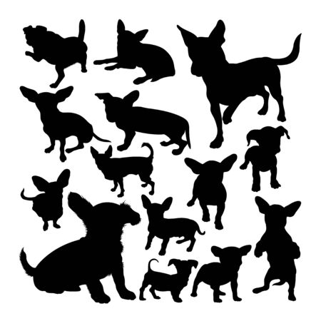 Chiweenie dog animal silhouettes. Good use for symbol, logo, web icon, mascot, sign, or any design you want. Çizim