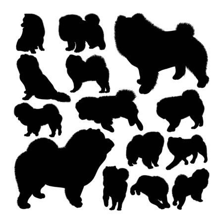 Chow chow dog animal silhouettes. Good use for symbol, logo, web icon, mascot, sign, or any design you want. Çizim
