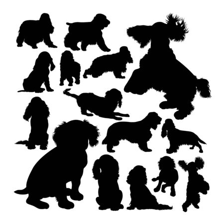 Cocker spaniel dog animal silhouettes. Good use for symbol, logo, web icon, mascot, sign, or any design you want. Çizim