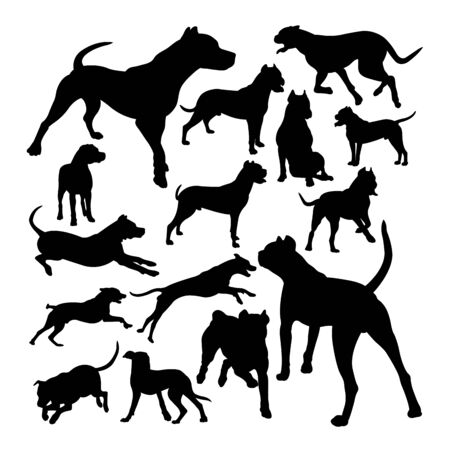 Dogo argentino dog animal silhouettes. Good use for symbol, logo, web icon, mascot, sign, or any design you want.