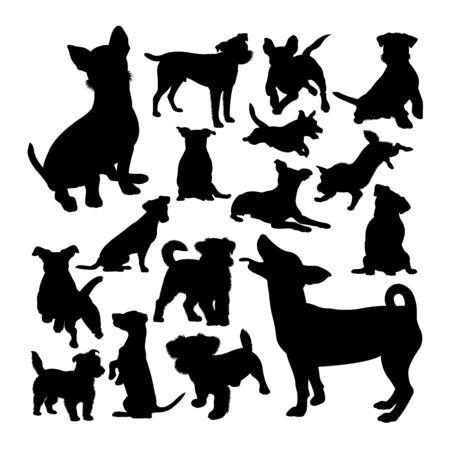 Siluetas de animales de perro Jack Russell. Buen uso de símbolo, logotipo, icono web, mascota, letrero o cualquier diseño que desee. Logos