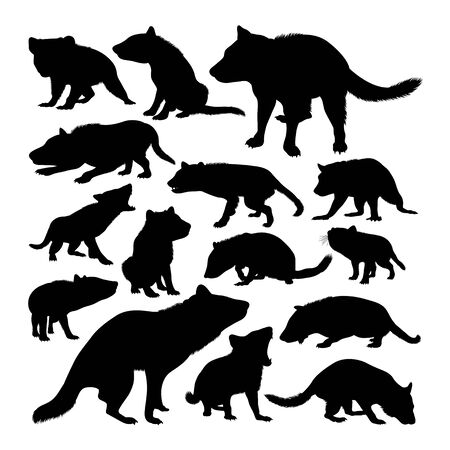 Tasmanian devil animal silhouettes. Good use for symbol, logo, web icon, mascot, sign, or any design you want. 免版税图像 - 128052377