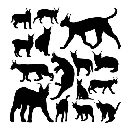 Wild caracal cat animal silhouettes. Good use for symbol, logo, web icon, mascot, sign, or any design you want. Çizim