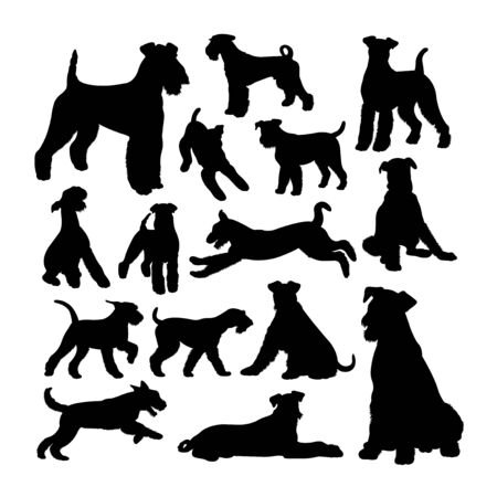 Airedale terrier  silhouettes. Good use for symbol, web icon, mascot, sign, or any design you want. Illustration