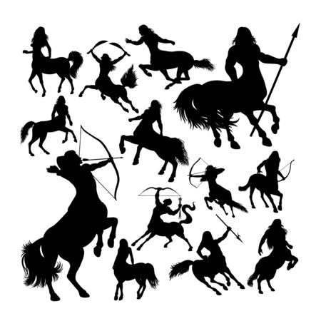Centaur ancient creature mythology silhouettes. Good use for symbol, web icon, mascot, sign, or any design you want.