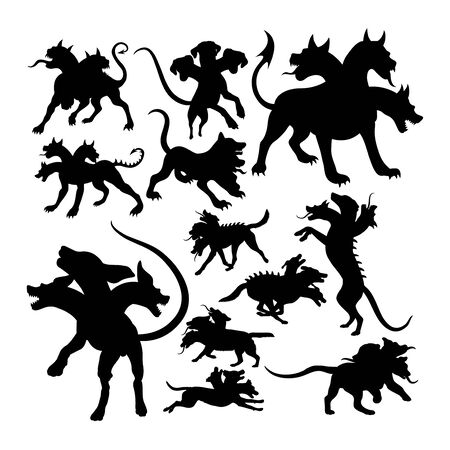 Cerberus ancient creature mythology silhouettes. Good use for symbol, web icon, mascot, sign, or any design you want.