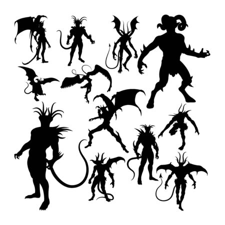 Devil silhouettes. Good use for symbol, web icon, mascot, sign, or any design you want.