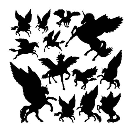 Pegasus ancient creature mythology silhouettes. Good use for symbol, web icon, mascot, sign, or any design you want. Çizim