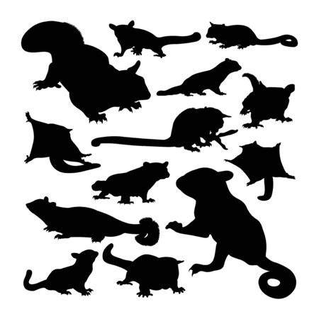 Sugar glider animal silhouettes. Good use for symbol,  web icon, mascot, sign, or any design you want.