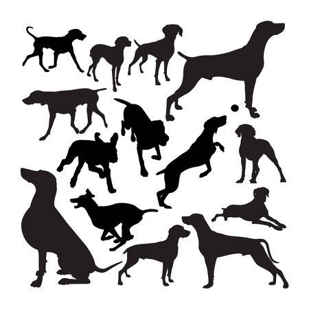 Weimaraner  animal silhouettes. Good use for symbol,  web icon, mascot, sign, or any design you want.