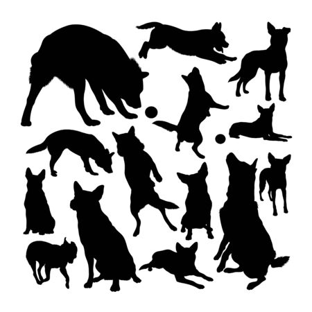 Australian cattle dog silhouettes. Good use for symbol, logo, web icon, mascot, sign, or any design you want.